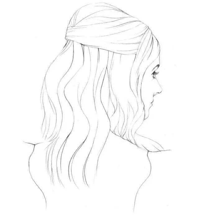 盘发女生简笔画
